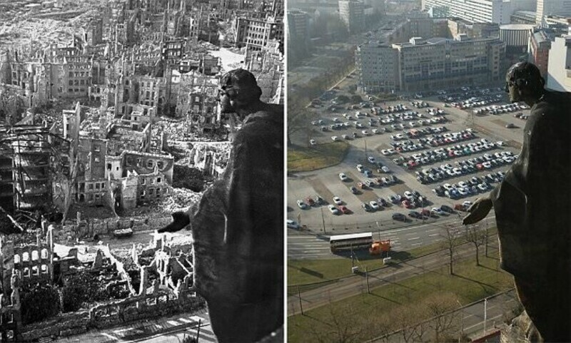 Дрезден, Германия, во время Второй мировой войны и сейчас