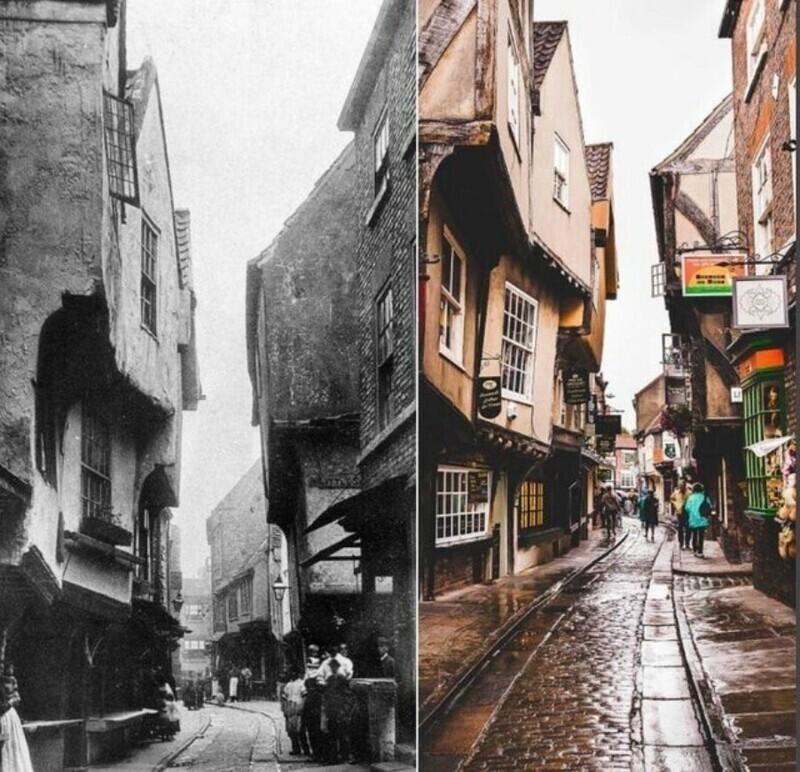 """Шемблз - средневековая улица в Йорке, Великобритания, в 1800-х и сейчас. Обликом Шемблз навеяны виды Косого переулка в """"Гарри Поттере"""""""