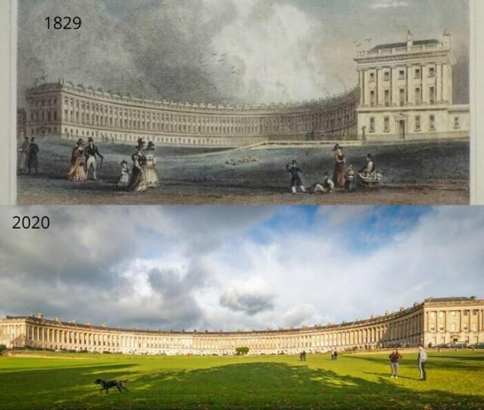 Королевский полумесяц, город Бат, Англия, 1829 и 2020
