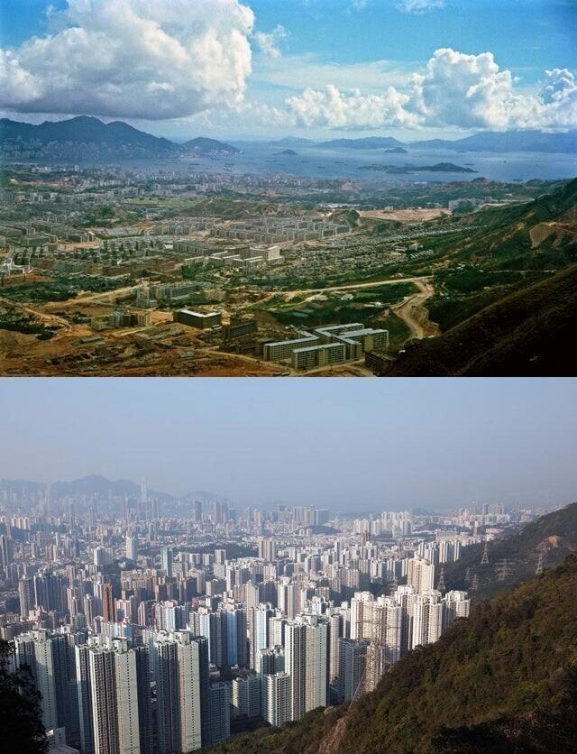 Остров Коулун в Гонконге, 1964 и 2016