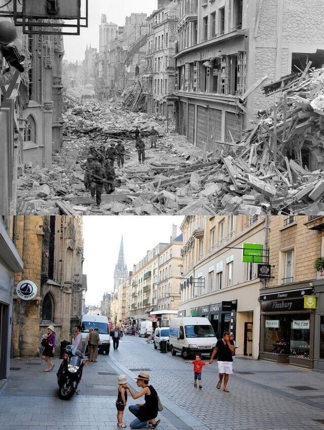 Кан, Франция, 1944 и сейчас