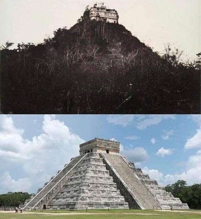Чичен-Ица, политический и культурный центр майя на севере полуострова Юкатан в Мексике, в 1892 году и сейчас