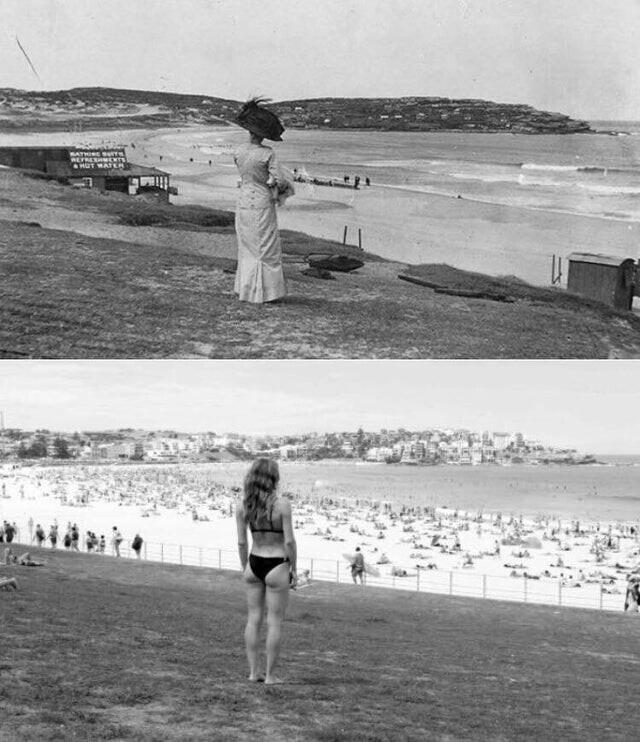 Бондай-Бич, Австралия, 1910 и 2017
