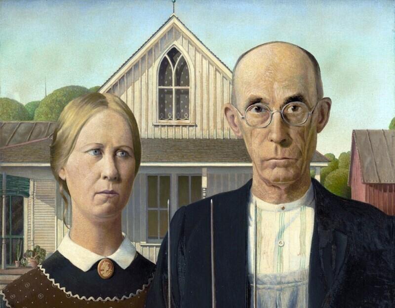 """Картина """"Американская готика"""" изображает фермера и его дочь, а не его жену, как многие могли подумать"""