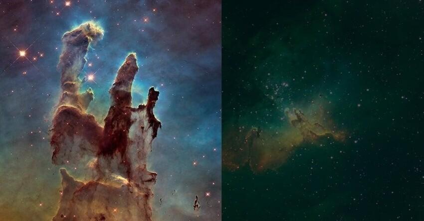 Знаменитые Столпы Творения, снятые Хабблом, а справа - снимок с Земли