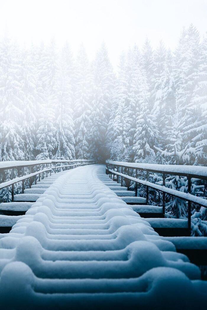 Железнодорожный мост после снегопада