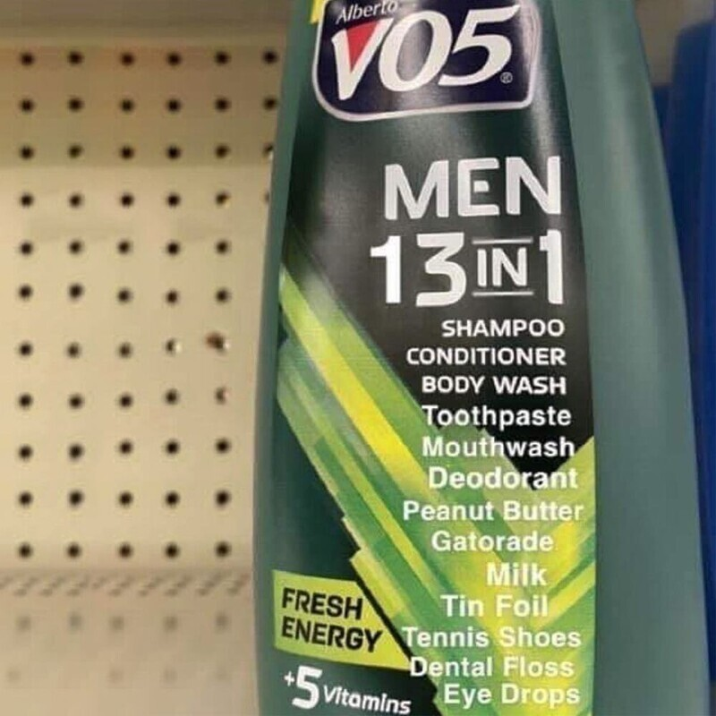 """Средство для мужчин """"13 в 1"""". Шампунь, кондиционер, гель для тела, зубная паста, ополаскиватель для рта, дезодорант, арахисовое масло, энергетический напиток, молоко, фольга, теннисные туфли, зубная нить, глазные капли"""