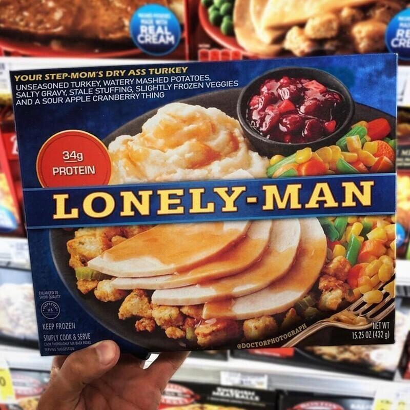 Ужин для одинокого мужчины: пересушенная индейка, водянистое картофельное пюре, слегка замороженные овощи, пересоленный соус