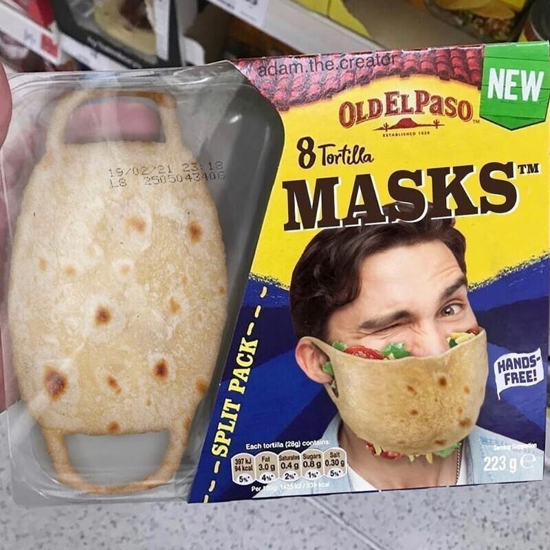 Защитные маски из тортильи, 8 шт. в упаковке