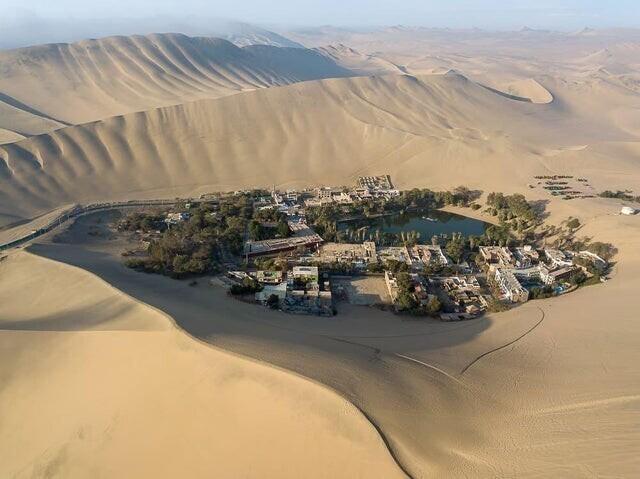 Город в Перу вокруг оазиса в Уакачина