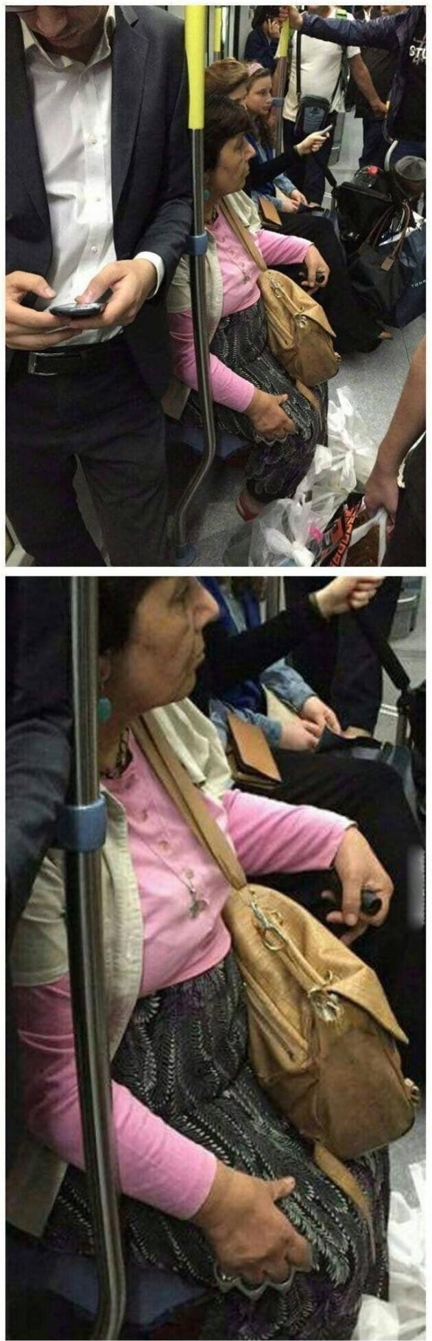 Похоже бабуля едет с разборок