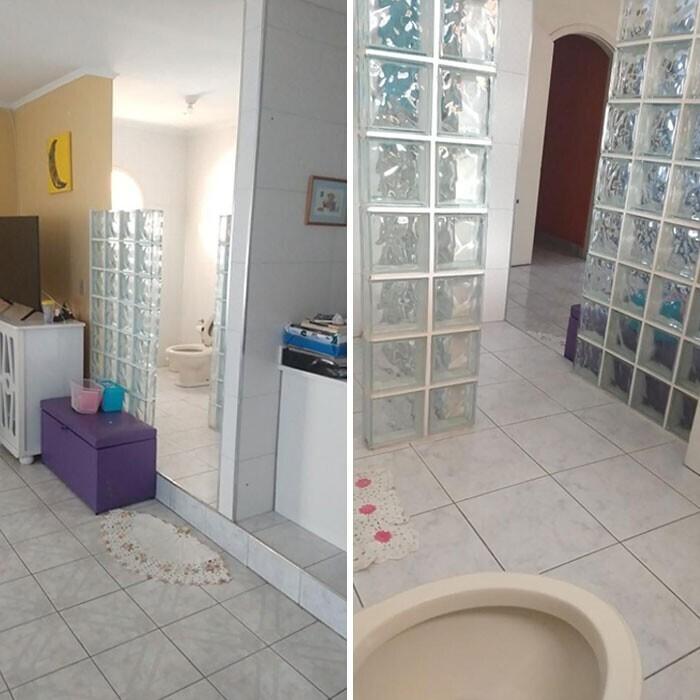 Туалет со стеклянной перегородкой и без дверей, прямо при входе в квартиру
