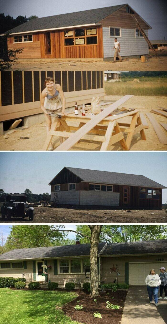 """""""Мои родители строят собственный дом, 1953 год. Сейчас моей маме 91 год, она по-прежнему живет в нем"""""""