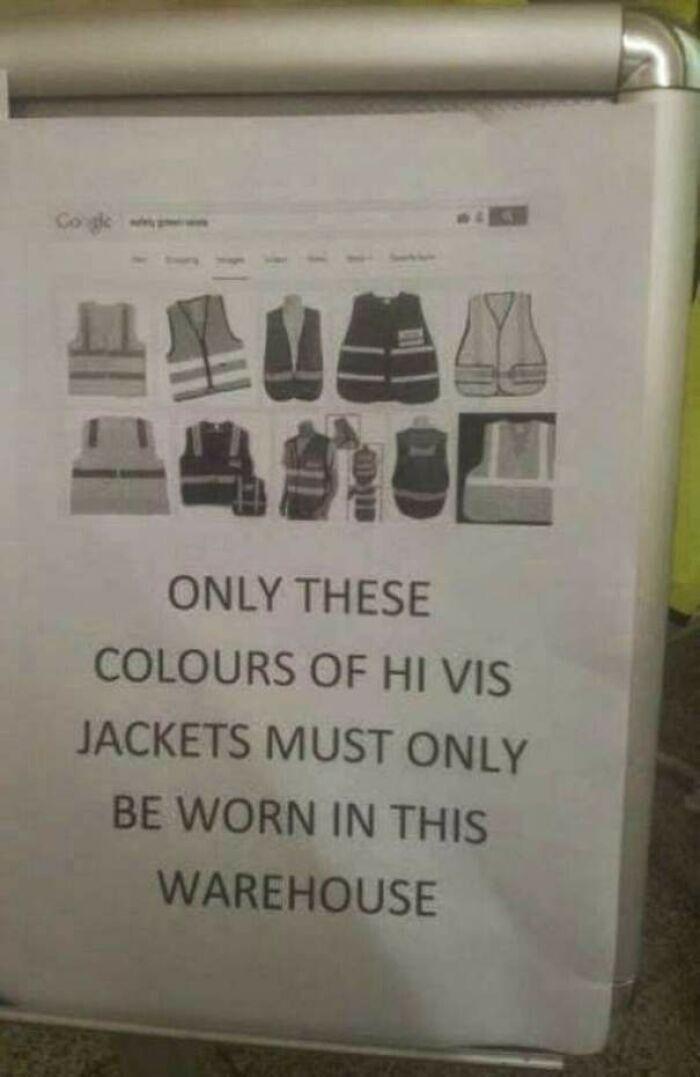 """""""На этом складе можно носить жилеты только этих цветов"""""""