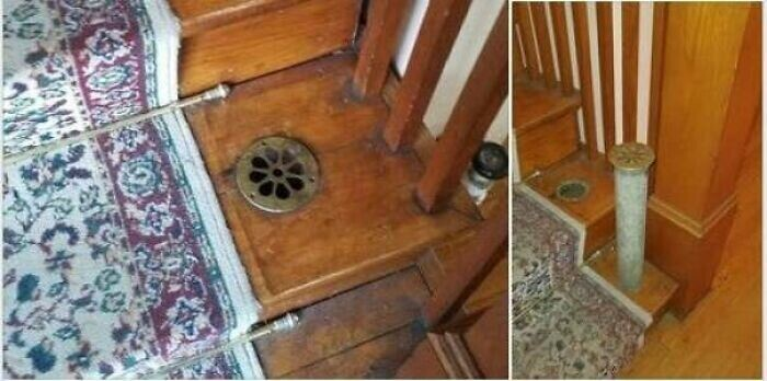 """""""Что это за штука? Это что-то вроде трубы, один выход - на фото, это второй этаж. Второй идет в подвал"""""""