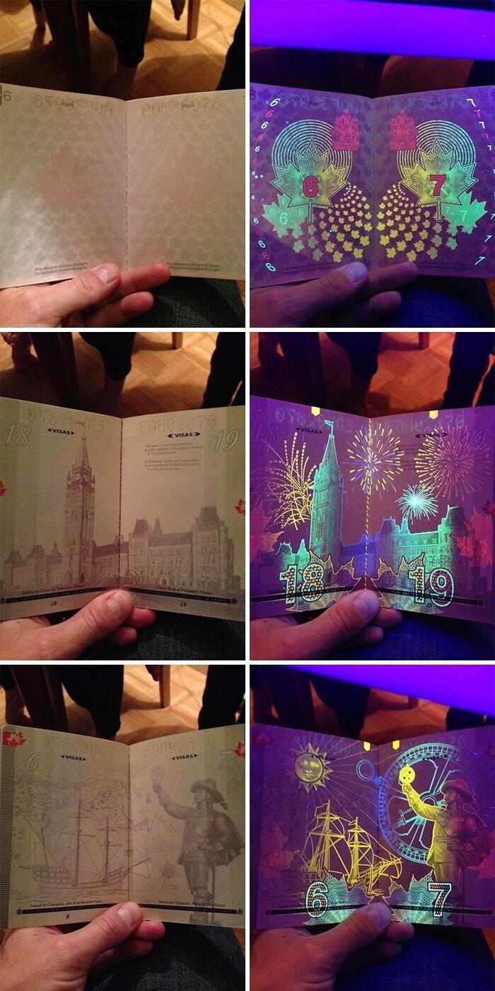 Вот так выглядит канадский паспорт в ультрафиолете