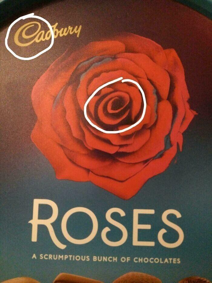 Компания Cadburry мастерски вписала свой логотип в центр розы, нарисованной на коробке с конфетами