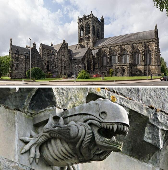 В шотландском аббатстве Пейсли есть горгулья-инопланетянин