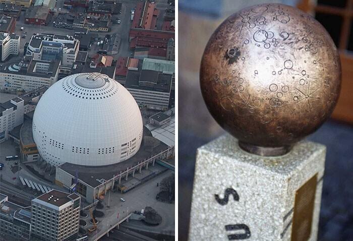 В Швеции по всей стране установлены статуи, изображающие планеты Солнечной системы. Расстояния между ними полностью пропорциональны реальным расстояниям между планетами. В центре композиции находится Глобен-арена в Стокгольме, изображающая Солнце