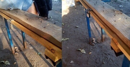 Двойная защита: эта скамья еще и с гвоздями