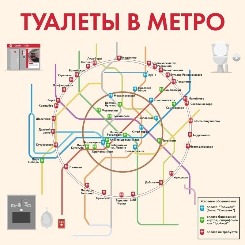 А это схема туалетов в московском метро - вдруг кому-нибудь пригодится