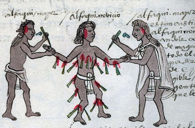 Ацтеки казнили молодых людей за появление на публике в нерезвом виде, а также за то, что человек сдвинул границы своего участка