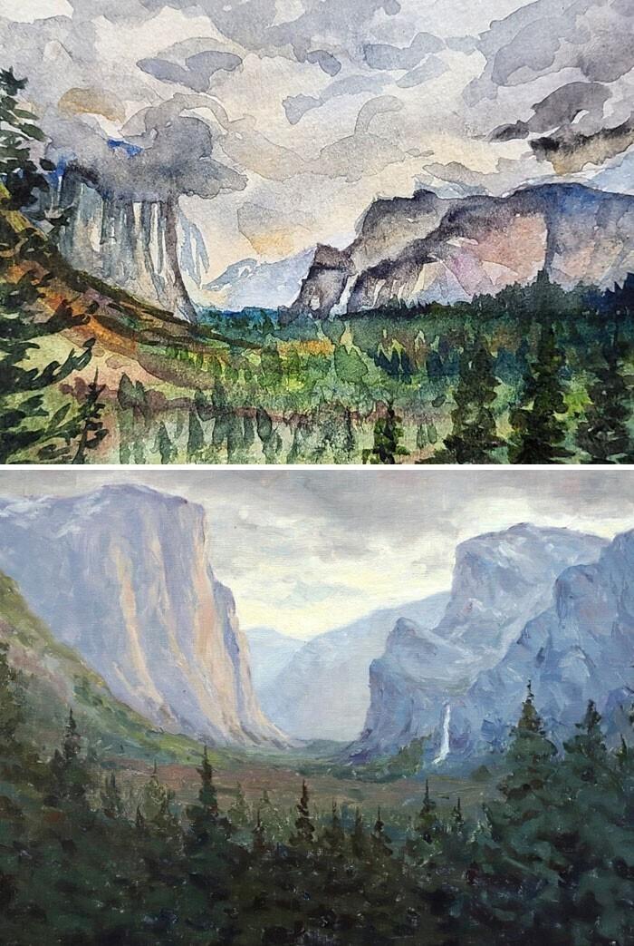 """""""Две картины по одной фотографии, но сделанные с разницей в два года. Два года практики"""""""