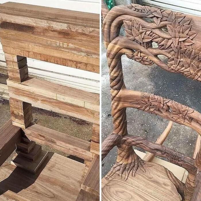 Деревянный стул, до и после работы мастера