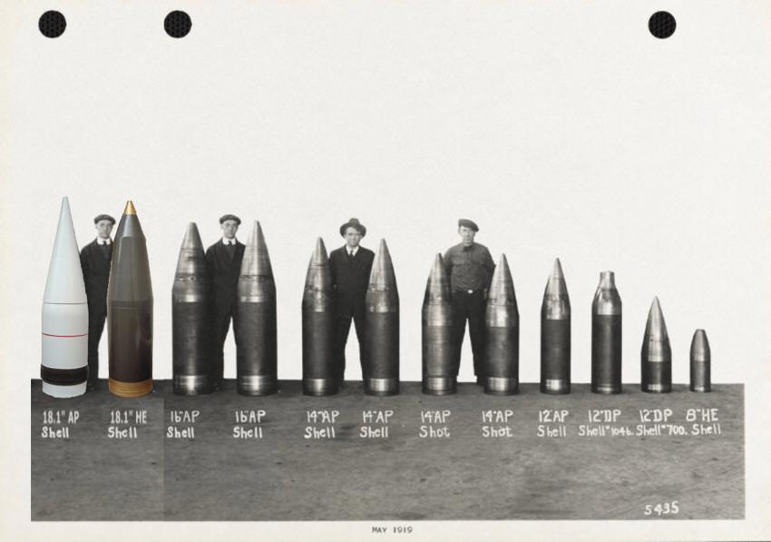 Линкоры - размер  орудий и их снаряды