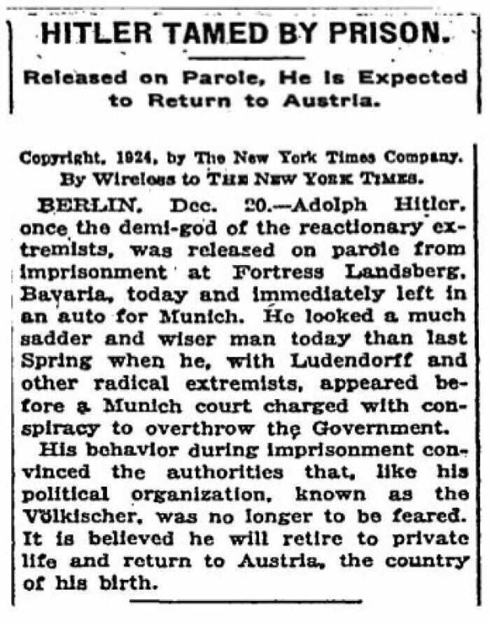 """Статья в New York Times, 1924 год: """"Тюрьма укротила Гитлера"""""""