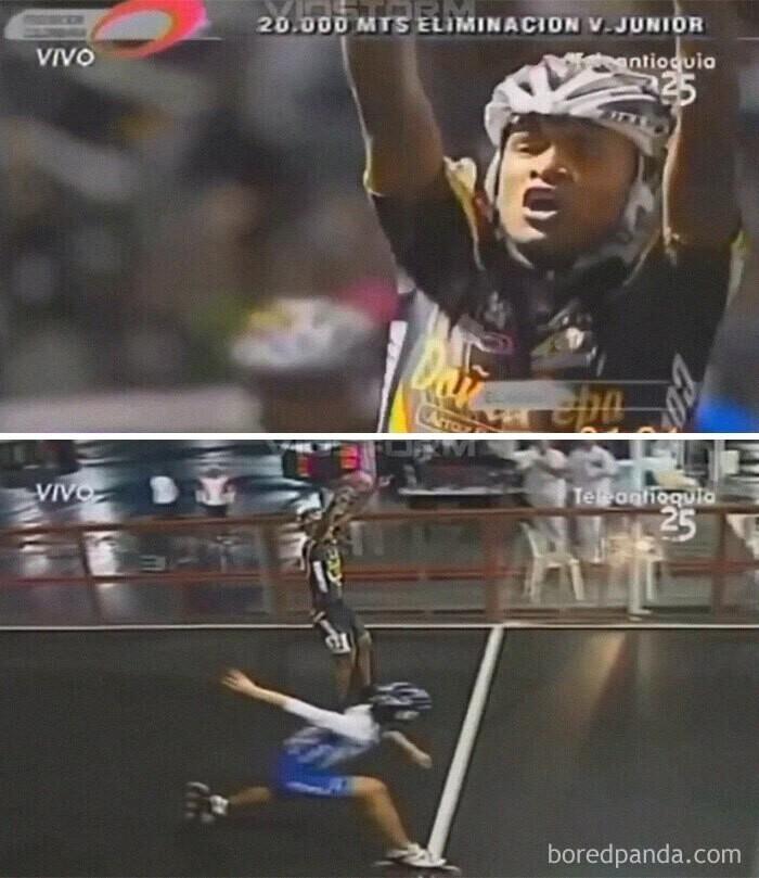 Спортсмен начал радоваться победе на секунду раньше, чем следовало, - и соперник тут же наказал его за самоуверенность