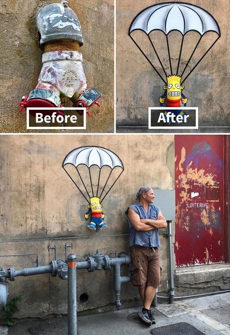 Барт Симпсон прыгает с парашютом