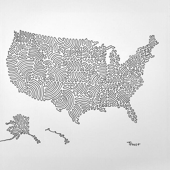 Карта США с границами штатов, нарисованная тремя линиями