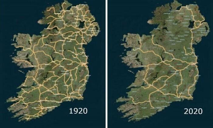 Система железных дорог в Ирландии, 1920 - 2020: неожиданно