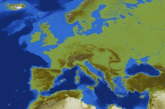 Игровая карта европы, созданная пользователем Minecraft