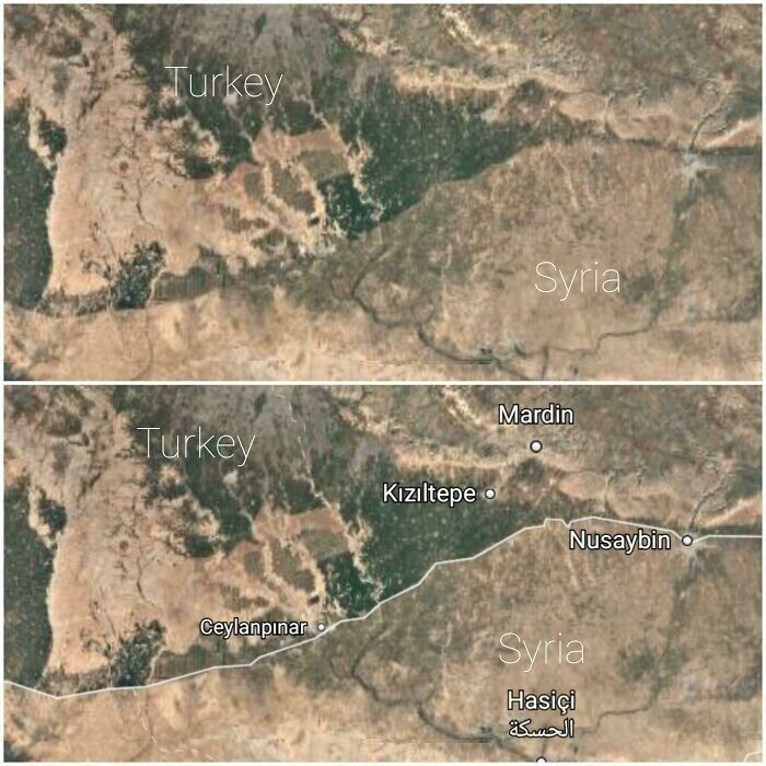 Разница между территориями Турции и Сирии видна невооруженным глазом