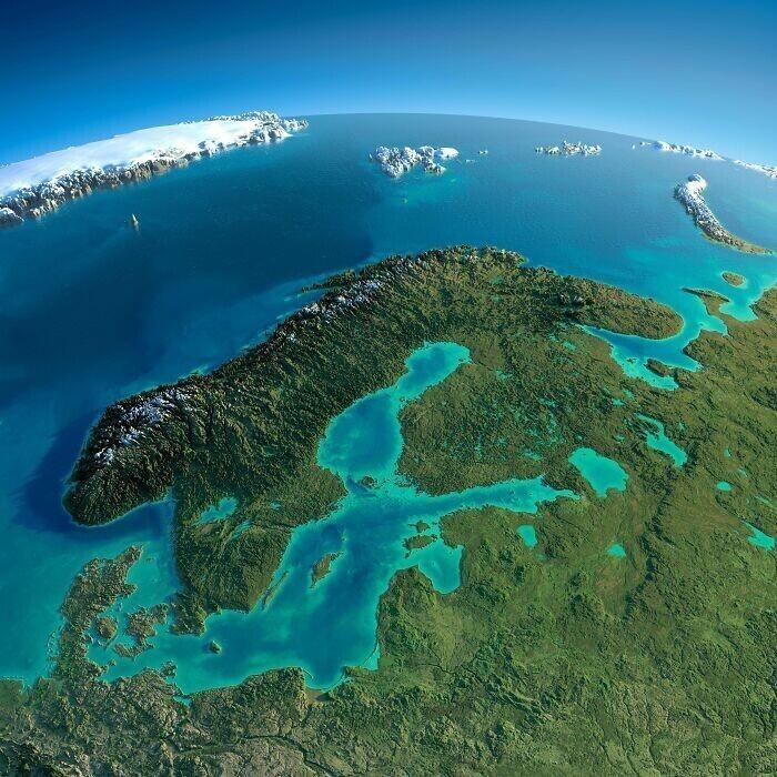 Рельефная карта Балтики и Скандинавии