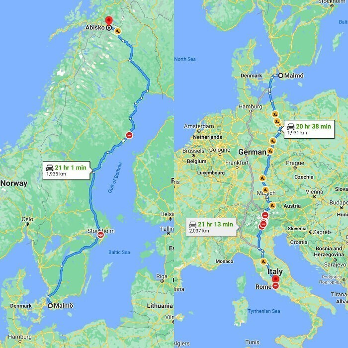 Оказывается, путь от Мальме до Абиско - с одного конца Швеции до другого - длиннее, чем путь от Мальме до Рима, проходящий через пять стран