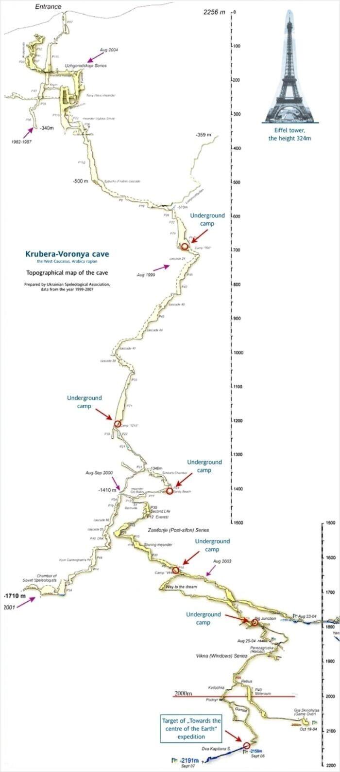 Карта пещеры Крубера-Воронья в Абхазии - самой глубокой пещерной системы мира глубиной 2191 метра