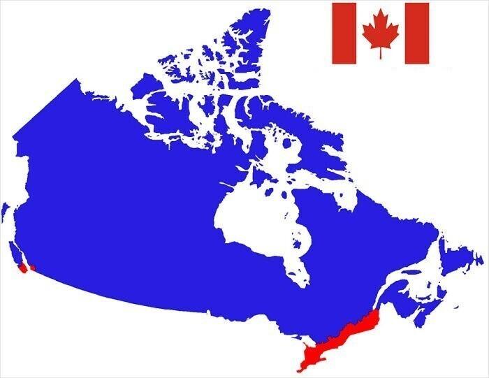 В красной части Канады живет больше людей, чем в синей