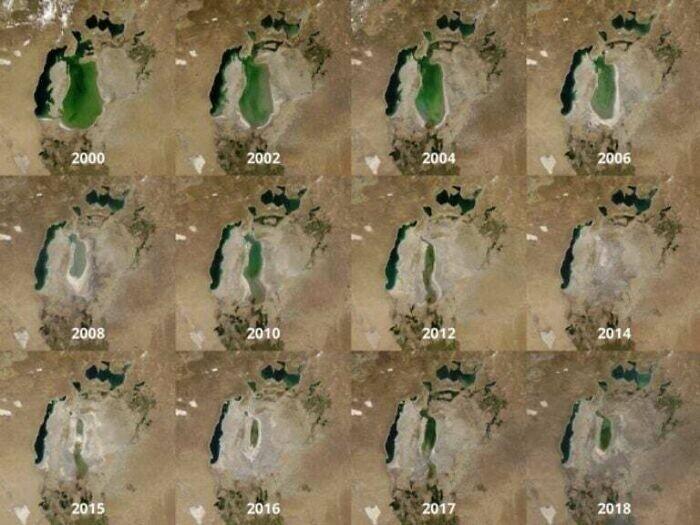 Изменение Аральского моря, 2000 - 2018