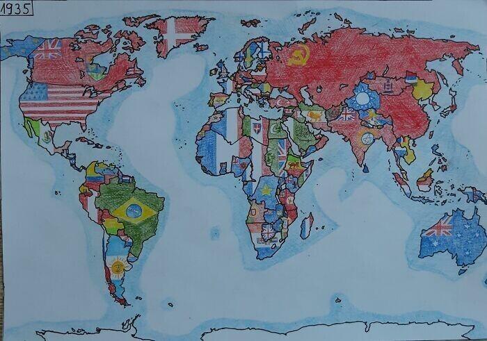 Карта мира 1935 года