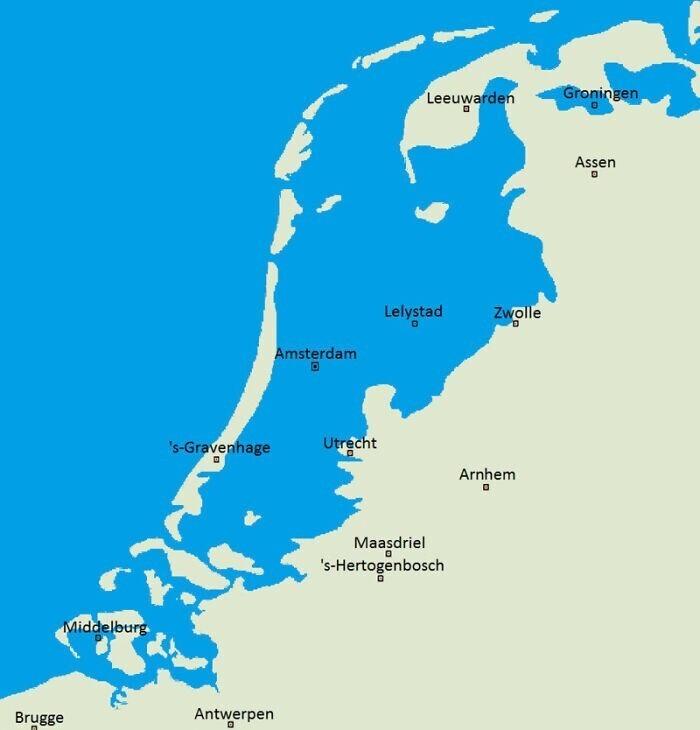 Если бы в Нидерландах не строили дамбы, карта страны выглядела бы так