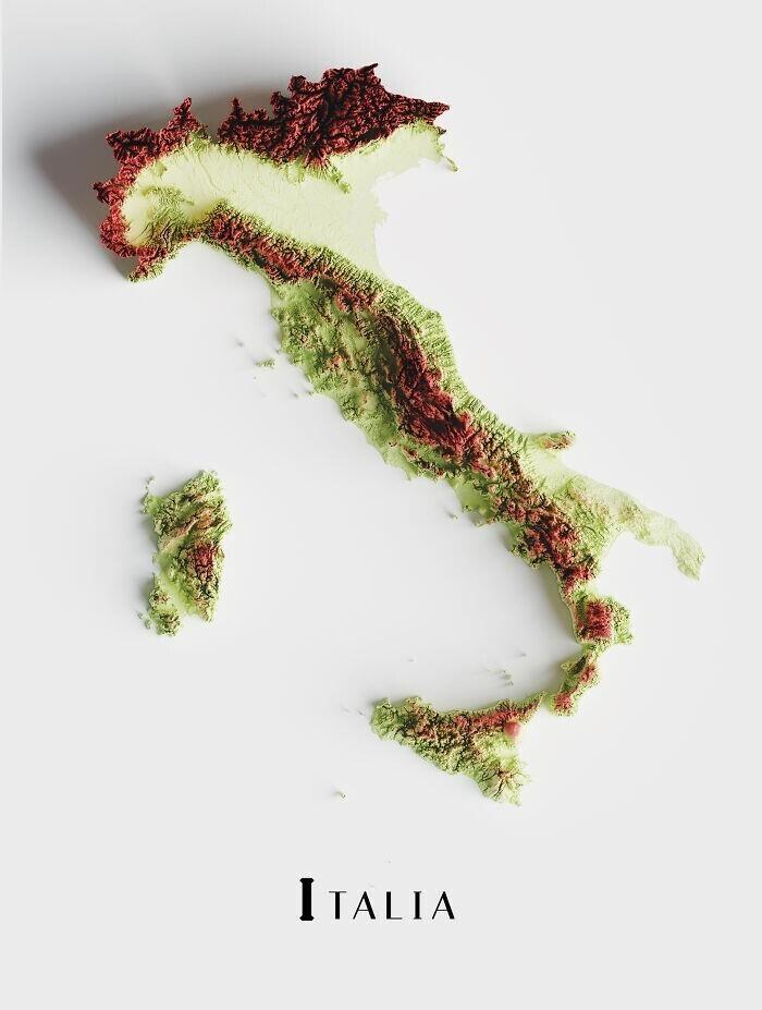 Топографическая карта Италии