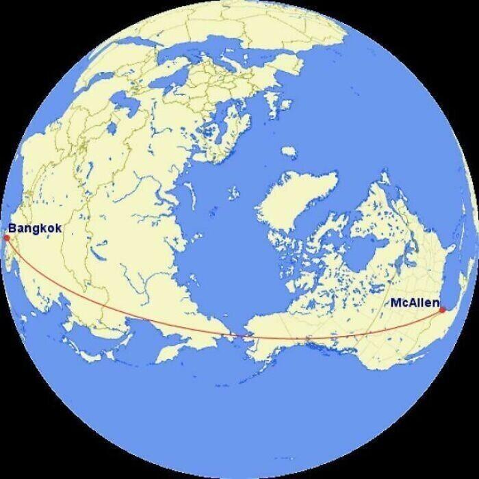 Самый прямой маршрут из Макаллена, Техас, до Бангкока: если лететь по нему, над морем пройдет лишь около 70 километров трассы