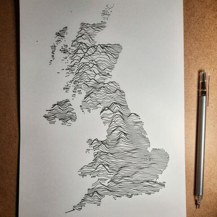 Нарисованная вручную карта Великобритании