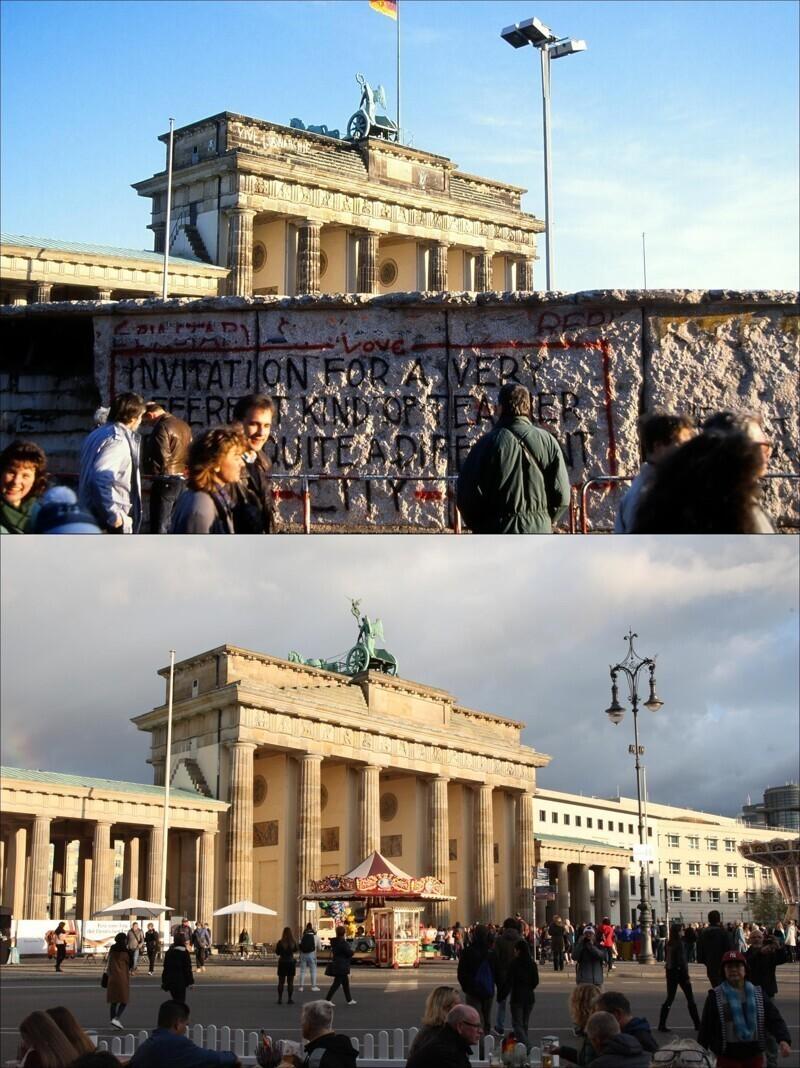 Берлинская стена 30 лет назад и сейчас