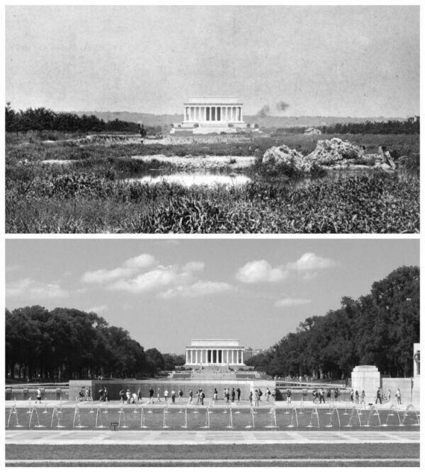 Мемориал Линкольна в 1922 году и в 2016 году