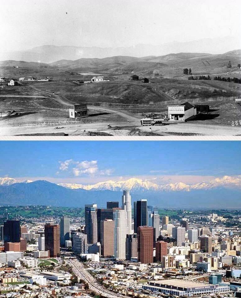 Лос-Анджелес в 1901 году и в 2001 году