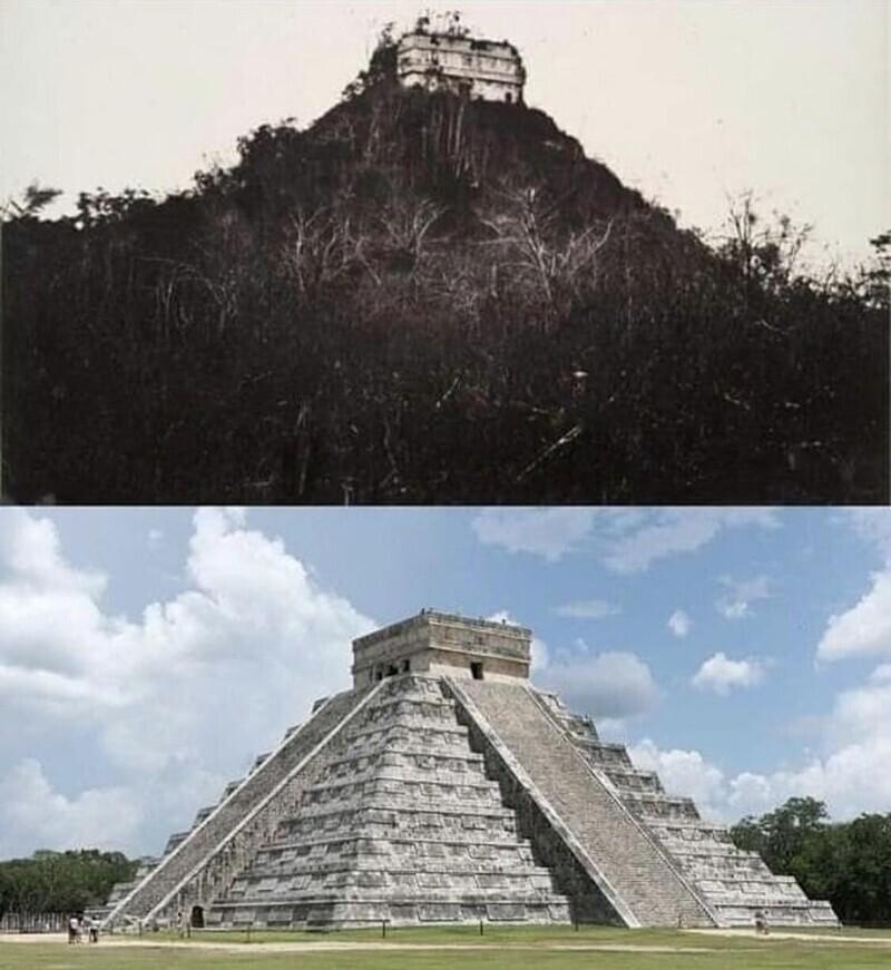 Храм майя Кукулькан в 1892 году и сейчас